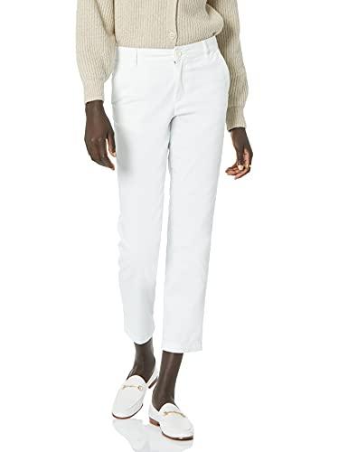 Amazon Essentials Women's Cropped Girlfriend Chino Pant, Bright White, 16
