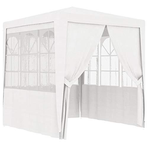 Festnight Tente de Réception avec Parois Latérales Tente pour Fêtes 2,5x2,5m Blanc 90 g/m²