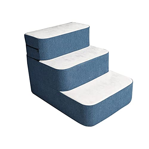 CQILONG Escaleras para Perros, Pasos De La Cama Perro Pequeño Rampa, Diseño De Cremallera Esponja Cabello No Pegajoso Estera, Lavable Fácil De Montar (Color : BlueWhite, Size : 40X50X40cm)