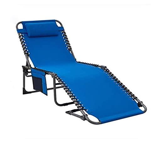 FVGBHN Tumbona reclinable, plegable, portátil, plegable, con almohada y bolsillo lateral, capacidad de carga: 120 kg, 4 niveles, ajustable, 190 x 59 x 34 cm, para Garde