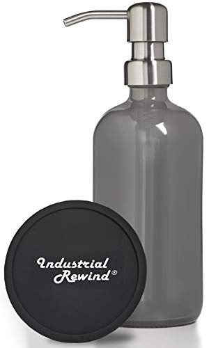 Industrial Rewind Gray Grey Soap Dispenser 8oz Glass Soap Dispenser with Metal Pump, Comes with Non Slip Coaster, Works with Hand Sanitizer