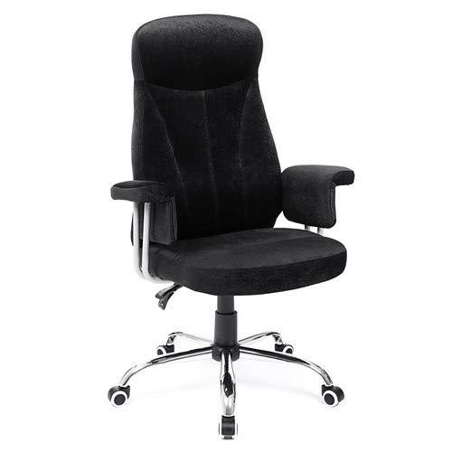 SONGMICS Bürostuhl mit Hoher Rückenlehne, Höhenverstellbarer Drehstuhl mit Samtbezug, Schwarz OBG41B