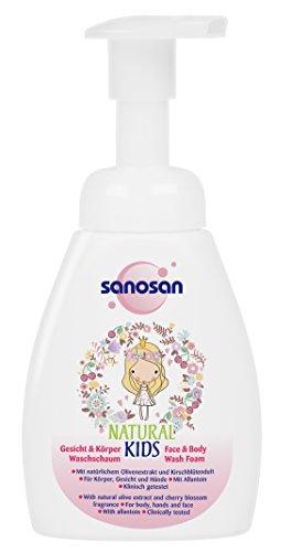sanosan NATURAL KIDS Gesicht & Körper Waschschaum für Mädchen, mildes 2in1 Duschgel Kinder, 3er Pack (3 x 250 ml)