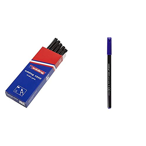 Edding 1300-001 - Rotulador con punta de fibra, 10 unidades, color negro + 1200-003 - Rotulador con punta de fibra, 10 unidades, color azul