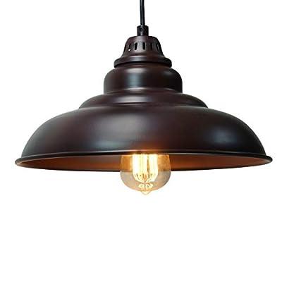 "Barn Pendant Lights, FINXIN 1-Light Hanging Light for Kitchen Dining Table FXPL01 Oil-Rubbed Bronze 12"" Ceiling Dome Pendant Lighting E26 Base (Bronze)"