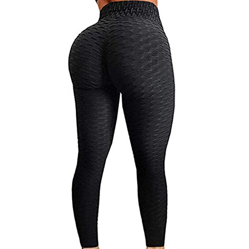 FITTOO Womens High Waist Textured Workout Leggings Booty Scrunch Yoga Pants Slimming Ruched Tights Black M