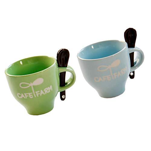 Baoblaze Juego de 2 Tazas de Cerámica para Té Y Café con Cucharas 120 Ml / 4 Onzas Verde Azul