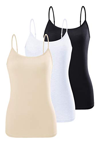 AMVELOP Adjustable Camisole for Women Spaghetti Strap Tank Top Super Soft Camisoles Black White Apricot XL
