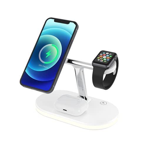 3 en 1 Cargador inalámbrico magnético, soporte de teléfono móvil de carga inalámbrica 15W para iPhone 12 Pro Max Mini Watch, auricular, compatible con la estación de carga inalámbrica Qi