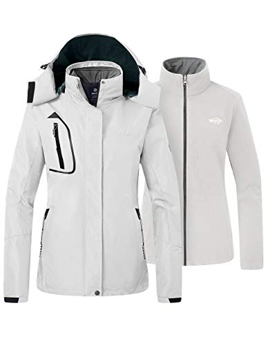 Wantdo Women's Interchange 3 in 1 Jacket with Detachable Liner Off White X-Large