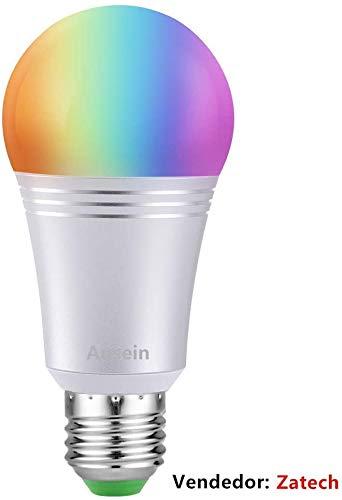 Bombilla Wifi Inteligente con Color Regulable, Foco LED 60W Equivalente 650lm de Dispositivo Inteligente y Control de Voz por Amazon Alexa y Google Home No Requiere Concentrador (Luz Blanca 7W 6000K E27 A19)