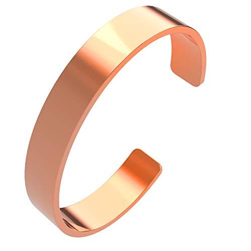 Pulsera de cobre de 10 mm natural, pulsera de cobre macizo sin imán, diseño sencillo