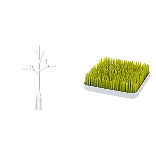 Boon Twig Grass and Lawn Drying Rack Accessory, White,Twig White with Grass Countertop Drying Rack,Green