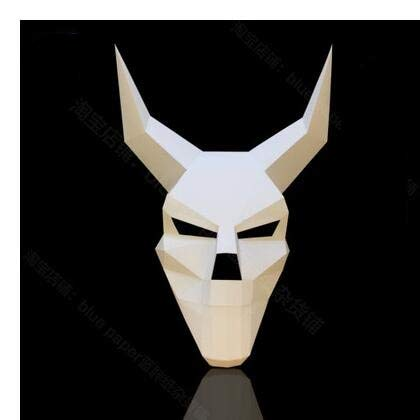 MSSJ Esquina 3D Cráneo Diablo Diablo Máscara de Papel Máscara Bricolaje Masculino...