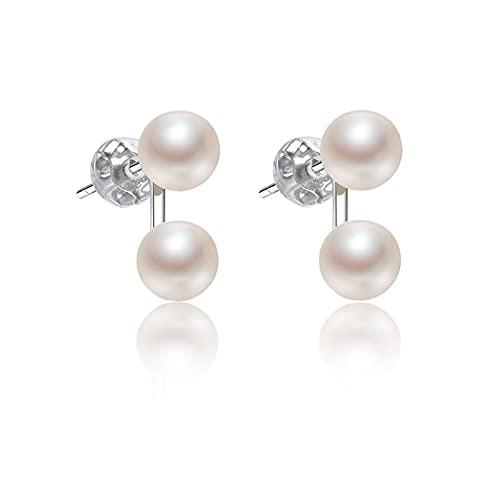 hkwshop Pendientes de moda S925 de plata de agua dulce, pendientes de perlas de 5 a 6 mm, color blanco, con forma de moño al vapor, joyería femenina, pendientes para mujer