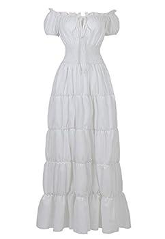 Renaissance Costume Women Medieval Chemise Dress Peasant Tops Irish Under Dress White-M