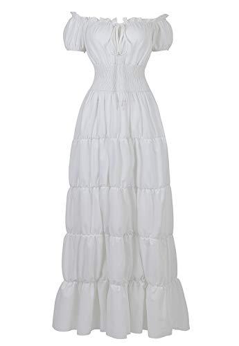 Renaissance Costume Women Medieval Chemise Dress Peasant Tops Irish Under Dress White-L