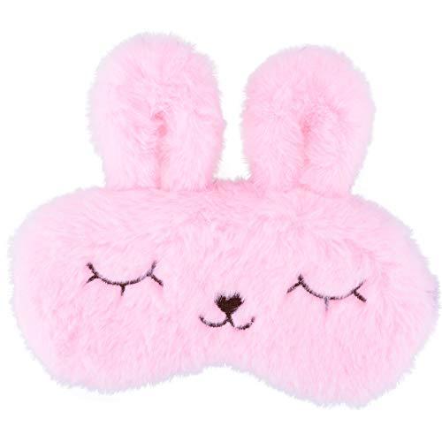 Ulife Mall Funny Cute Bunny Eye Mask for Sleeping Travel Soft Plush Fluffy Blindfold Sleep Mask Novelty Personalised Rabbit Eye Cover Breathable Eyeshade for Kids Girls Boys Women