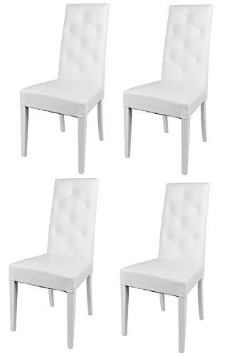 Tommychairs - Set 4 sillas Chantal para Cocina, Comedor, Bar y Restaurante, solida Estructura en Madera de Haya y Asiento tapizado en Polipiel Blanco