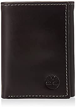 Timberland Men s Leather Trifold Wallet with ID Window Brown  Cloudy  One Size