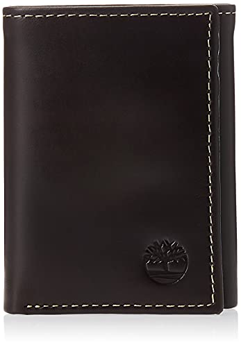 Timberland Men's Leather Trifold Wallet with ID Window, Brown (Cloudy), One Size