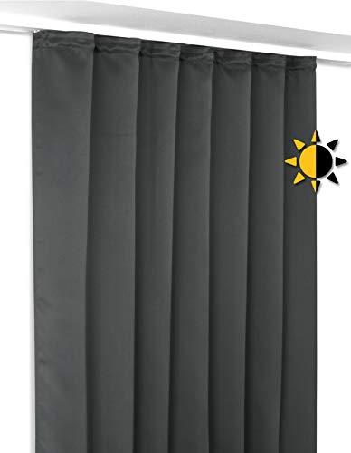 BEAUTEX Verdunkelungsgardine mit Kräuselband U-Band, Blackout Vorhang Blickdicht abdunkelnd, Größe und Farbe wählbar (Breite 300 cm. Höhe 245 cm, Dunkelgrau)