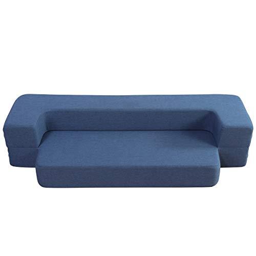 WOTU Folding Bed Couch, Folding Foam Sofa Bed Memory Foam Mattress Convertible Sofa,Floor Couch Sleeper Sofa Foam Queen