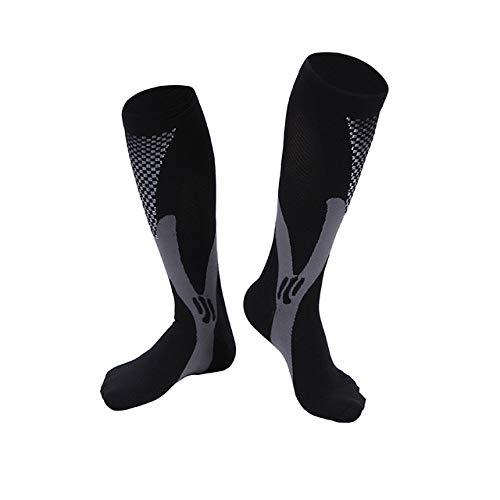 DAKEUR Kompressionsstrümpfe für Männer und Frauen, bessere Durchblutung der Beine unterstützen die folgenden Kniestrümpfe Nylonsocken gegen Krampfadern, Ödeme, Flug (3 Paar) schwarz SM