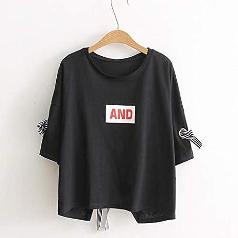 Livoral 2019 Style cor/éen Nouvelle Vente Confortable l/ét/é de la Mode des Femmes T-Shirt T-Shirt Ample pour Femmes avec col t-Shirt /à Manches Courtes