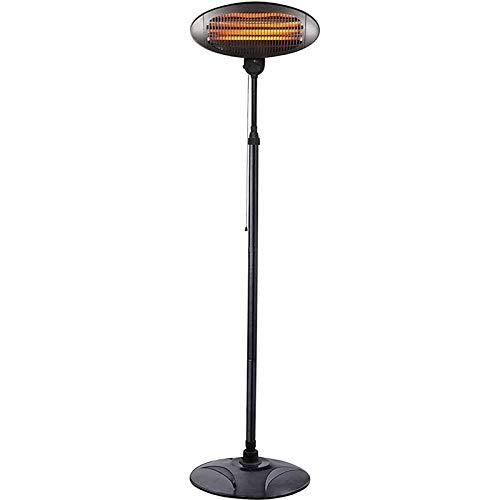 MRSDBTL 2KW Outdoor Quartz Electric Garden Patio Heater, Free Standing Waterproof Adjustable Heat Angle And Height Adjustable Stand