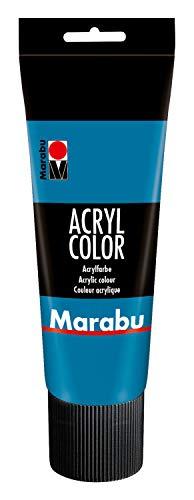 Marabu 12010025056 - Acryl Color cyan 225 ml, cremige Acrylfarbe auf Wasserbasis, schnell trocknend, lichtecht, wasserfest, zum Auftragen mit Pinsel und Schwamm auf Leinwand, Papier und Holz