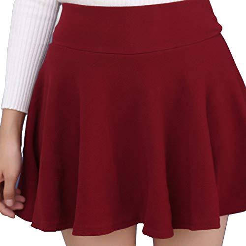 Tuopuda Falda Mini Skater Casual versátil elástica Acampanada versátil básica Falda Escolar Plisada Falda tutú para Mujeres niñas