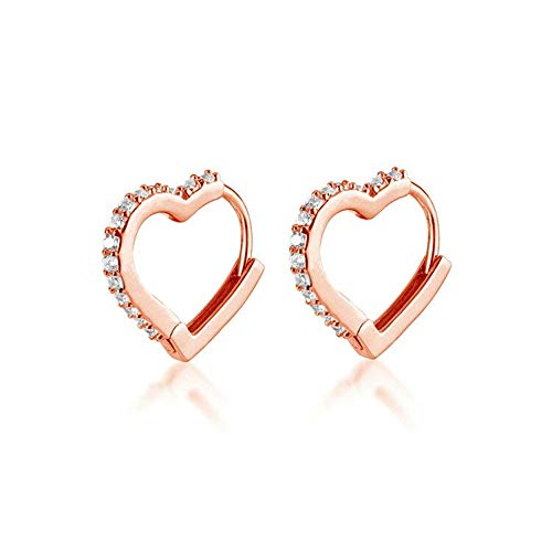 CZ Love Heart Huggie Small Hoop Earrings for Women Girls Teens S925 Sterling Silver Crystal Heart Daith Cartilage Stud Minimalist Sleeper Hoops Cute Birthday Christmas Valentines Gifts (Rose Gold)