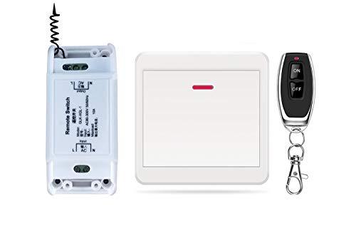 DONJON interruptor inalambrico, Interruptor de control remoto inalámbrico,rápido de añadir o reubicar interruptores de encendido/apagado, kit de interruptor de luz inalámbrico