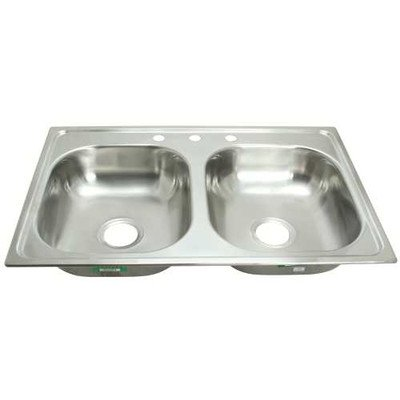 PROPLUS GIDDS-2474255 3-Hole Double Bowl Kitchen Sink for Mobile Homes, 20-Gauge, Stainless Steel, 33 x 19 x 8