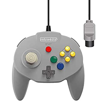 Retro-Bit Tribute 64 Wired N64 Controller for Nintendo 64 - Original Port -  Classic Grey
