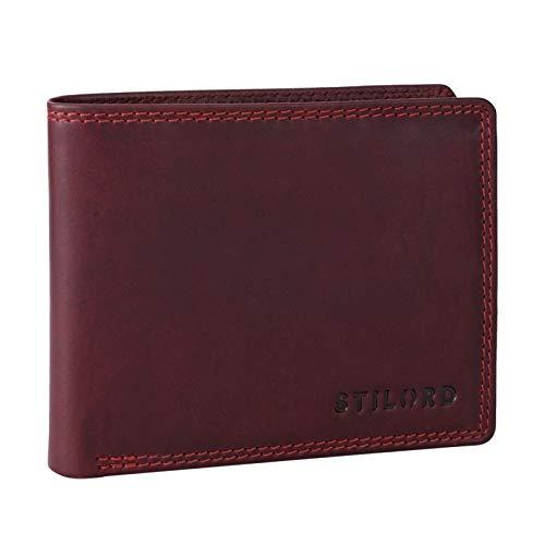 STILORD \'Elliot\' RFID Geldbeutel Herren Leder Vintage Portmonnaie mit 7 EC Karten-Fächer Münzfach Ausweisfach Brieftasche mit RFID Blocker in Geschenkbox, Farbe:Rosso