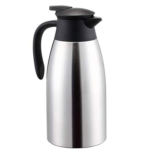 BonNoces 68 Oz Stainless Steel Coffee Carafe/Thermal Carafe - Dust Proof Cover - Fully Sealed - 2L Large Double Wall Vacuum Insulation Thermos - Keep Drink Hot and Cold (Silver)