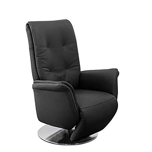 Cavadore TV-Sessel Danzig in Leder / Fernsehsessel mit Kopfteilverstellung, Liege- und Relaxfunktion / Stufenlos elektrisch verstellbar (2 Motoren) / 89 x 114 x 79 / Echtleder, Schwarz
