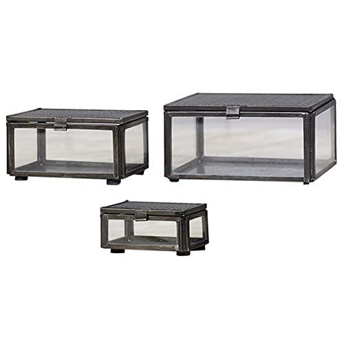 MACOSA CA64550 - Juego de 3 cajas para joyas rectangulares, color gris