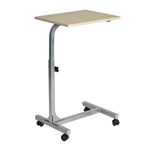 MEUBLE COSY Table de Lit pour Ordinateur Portable Hauteur Réglable 4 roulettes Verrouillables Support Bois Bureau PC, Métal, Chêne 2, 48x37x79 cm