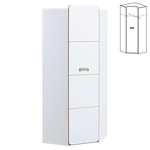 Furniture24 Eckkleiderschrank LORENTO L14 Schrank Drehtürenschrank 1 Türiger Kleiderschrank Eckschrank mit Kleiderstange (Briliant Weiß/Nash Eiche)