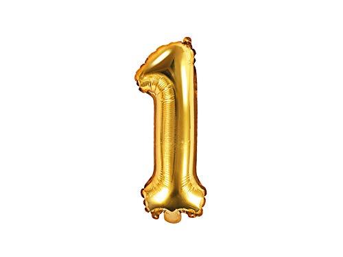 Ballon XXL en aluminium - Chiffre 1 en or - Anniversaire - Chiffre année - Premier anniversaire - Âge - Décoration