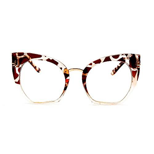 Astemdhj Gafas de Sol Sunglasses Gafas Cuadradas con Montura Clásica Óptica, Montura De Gafas De Ojo De Gato A La Moda para Mujer, Montura De Miopía Transparente Retro A La Moda Panti-UV