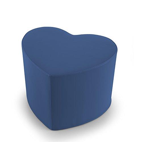 EXTOITALY Coeur Bleu Pouf en Cuir synthétique Adapté à séance mis.50 x 41 h.41 cm. Déhoussable Disponible en 10 Couleurs intérieur en polyuréthaneNome articolo (Titolo)