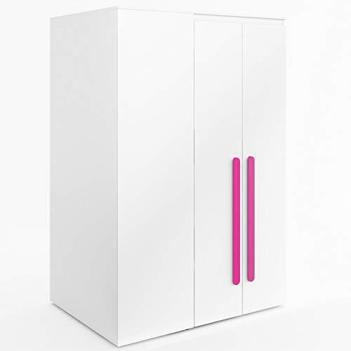 Furniture24 Eckkleiderschrank Replay RP00P, Eckschrank, Begehbarer Kleiderschrank mit 4 Einlegeböden, 2 Kleiderstangen, Innere LED Beleuchtung und Spiegel (Weiß/Weiß Hochglanz/Rosa)