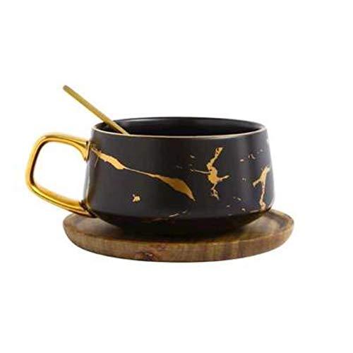 UKKD Tassen Kreative Frische Nordic Stil Marmor Matte Gold Keramik Tasse Oder Becher Tee Kaffeetasse Mit Holzdeckel Fach Geschenk,Schwarze Tasse