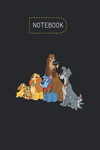 Notebook: Disney Lady And The Tramp Dogs College Ruled Line Notebook Cover Arts Designed Happy Birthday Gifts Black Cover Blank Line Notebook Journal ... Pages Write in and Journal Composition Book