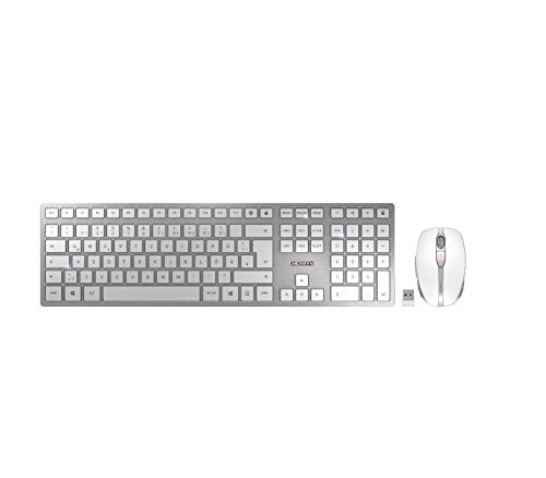 CHERRY DW 9000 Slim - Kabelloses Tastatur-Maus-Set - 2in1 Bluetooth/Funk - deutsches Layout - QWERTZ Tastatur - Weiß/Silber