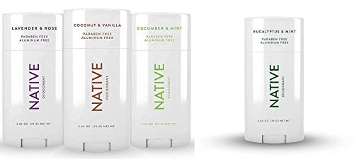 Native Deodorant - Natural Deodorant For Women and Men - 4 Pack - Aluminum Free, Free of Parabens - Contains Probiotics - Coconut & Vanilla, Lavender & Rose & Cucumber & Mint, Eucalyptus & Mint